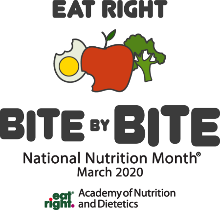 "image of egg, apple, broccoli. Picture reads ""Eat Right Bite by Bite National Nutrition Month March 2020"""
