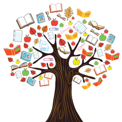 Picture of Tree with Books and Apples on Branches